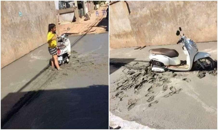 girl stuck on road- India TV Hindi