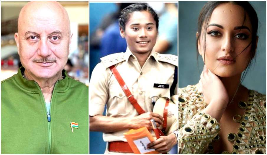 hima das dsp anupam kher  sonakshi sinha and other celebs congratulate indian athlete  - India TV Hindi
