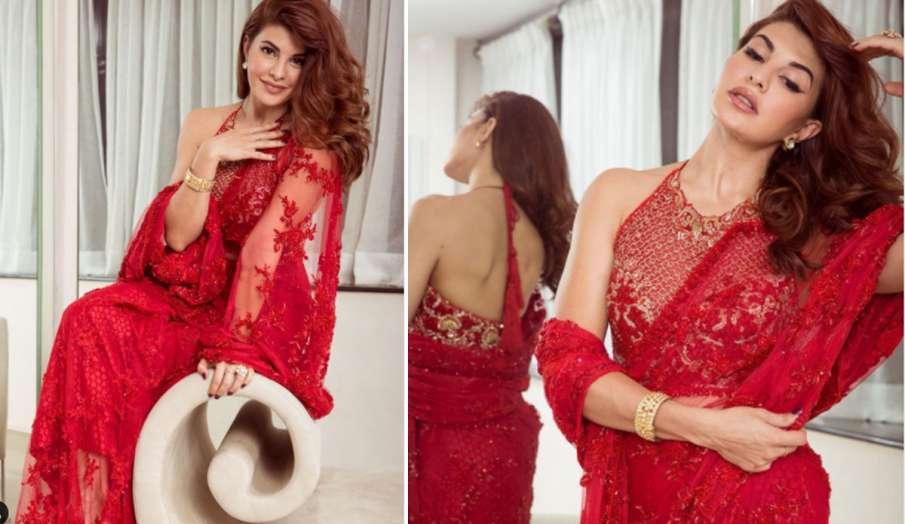जैकलीन फर्नांडिस रेड कलर की साड़ी में नजर आईं खूबसूरत, देखें Stunning Pics- India TV Hindi