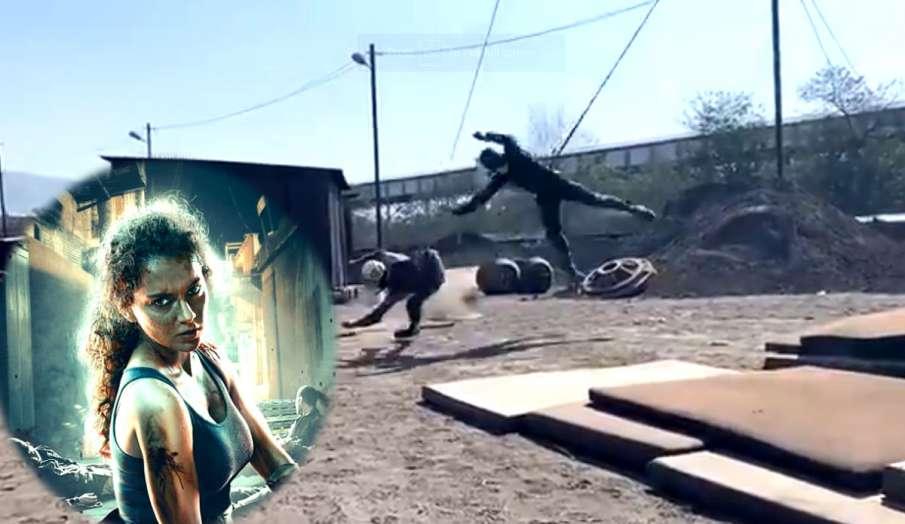 kangana ranaut dhaakad action shooting- India TV Hindi