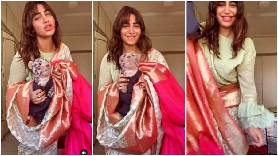 Arshi Khan danced Aly Goni Jasmine Bhasin song Tera Suit in a saree अर्शी खान ने साड़ी में किया अली - India TV Hindi