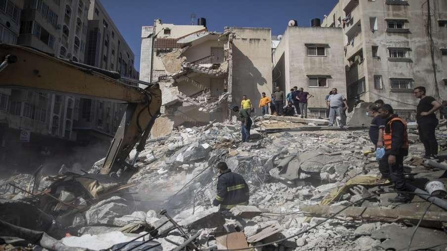 Israel attack on Gaza City Palestine air strike on buildings इजराइल ने गाजा सिटी पर फिर से भीषण हवाई- India TV Hindi