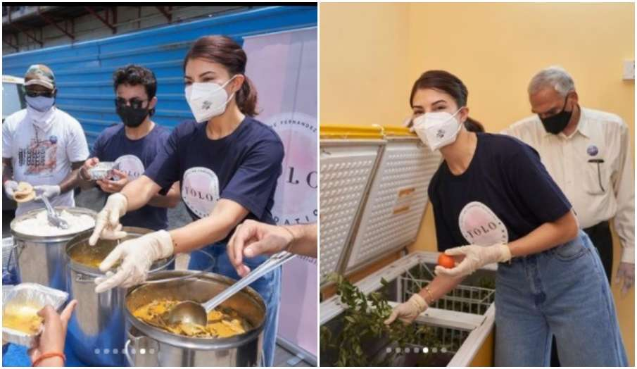 jacqueline fernandez serves meals to people- India TV Hindi