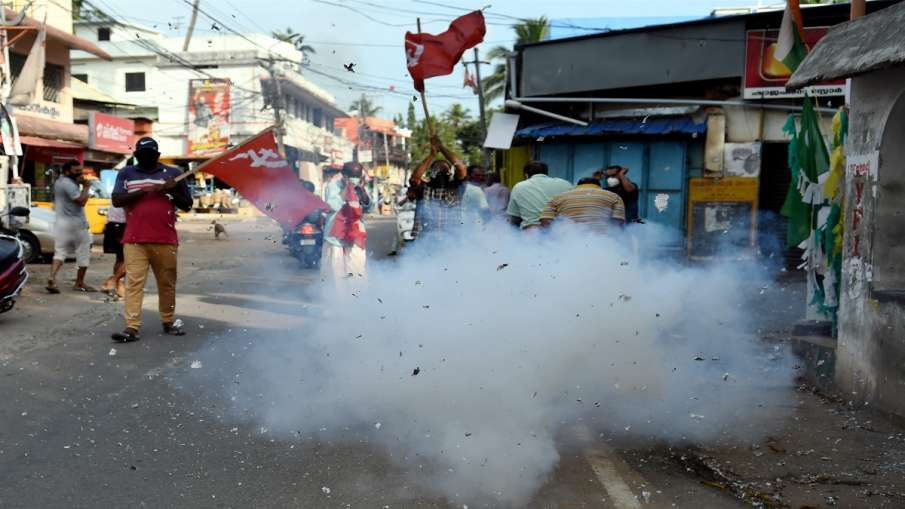 Left Democratic Front (LDF) activists celebrate party's winning trend during counting day of Kerala - India TV Hindi