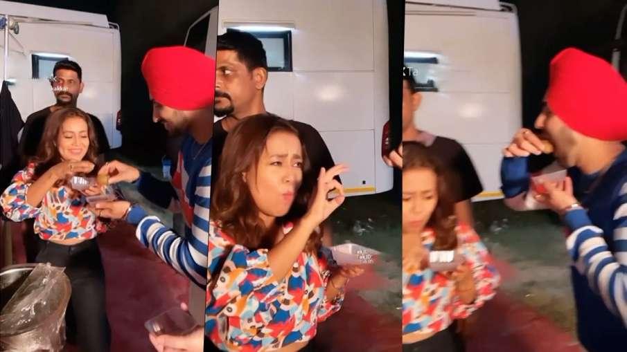 neha kakkar eating golgappe with husband rohanpreet singh on khad tenu main dassa set- India TV Hindi
