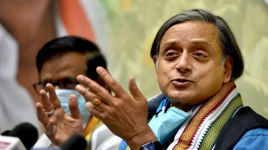 Congress MP Shashi Tharoor addresses a press conference at Sathyamoorthy Bhavan, the Tamil Nadu Cong- India TV Hindi