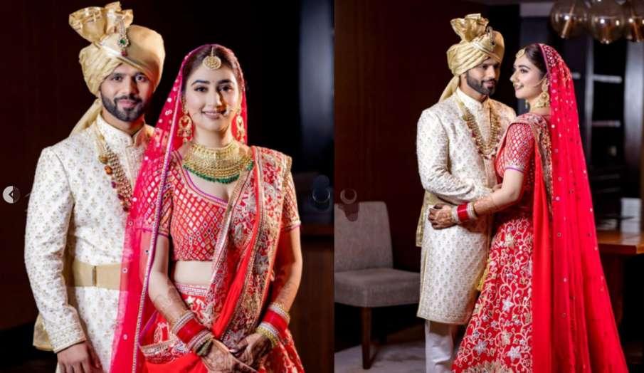 राहुल वैद्य की दुल्हन बनीं दिशा परमार, लाल रंग के लहंगे में बिखेरा खूबसूरती का जलवा- India TV Hindi