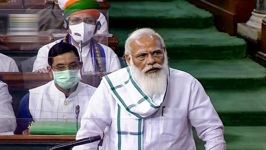Prime Minister Narendra Modi speaks in the Lok Sabha, on the first day of the Monsoon Session of Par- India TV Hindi