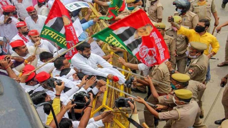 आगरा में समाजवादी पार्टी के विरोध प्रदर्शन के दौरान लगे 'पाकिस्तान जिंदाबाद' के नारे, 5 गिरफ्तार- India TV Hindi