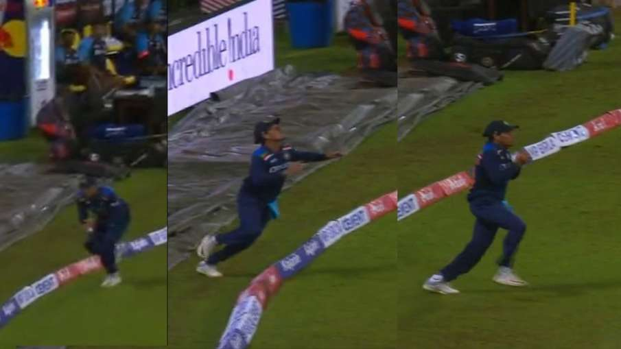 Rahul Chahar caught a wonderful catch on the boundary Watch Video IND vs SL 2nd T20I - India TV Hindi