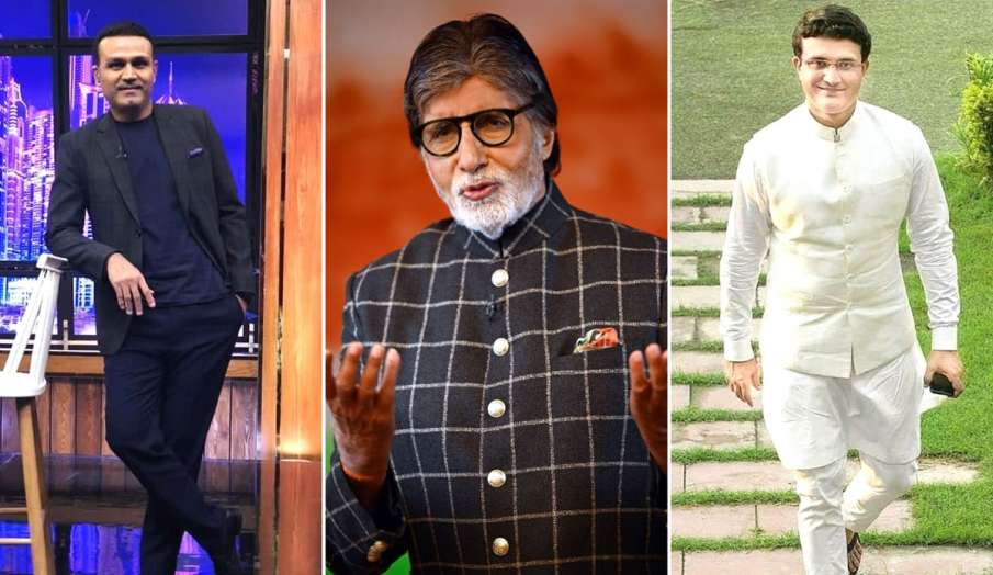 Virender Sehwag and sourav  ganguly in kaun banega crorepati 13 special episode with host amitabh ba- India TV Hindi