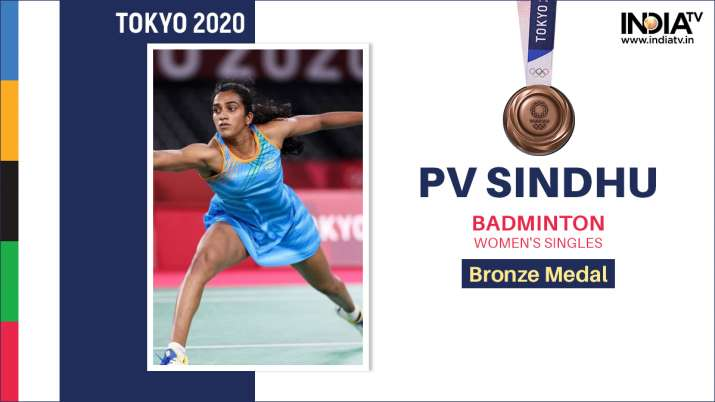 PV Sindhu creates history by winning bronze medal, defeating Chinese player 21-13 and 21-15 Tokyo Ol- India TV Hindi