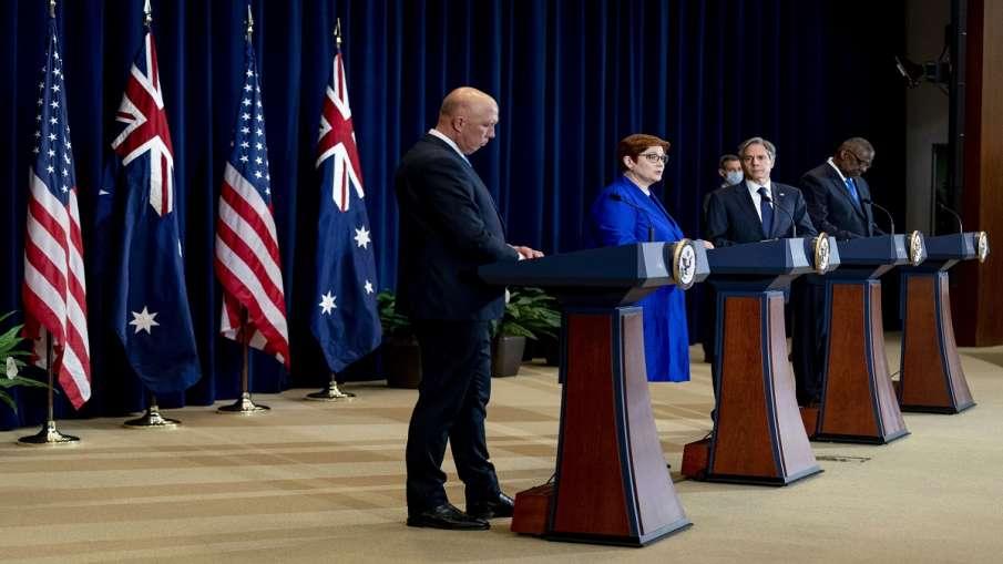 OCUS alliance Australia America Britain France EU not happy ऑस्ट्रेलिया, ब्रिटेन के साथ ऑकस गठबंधन क- India TV Hindi