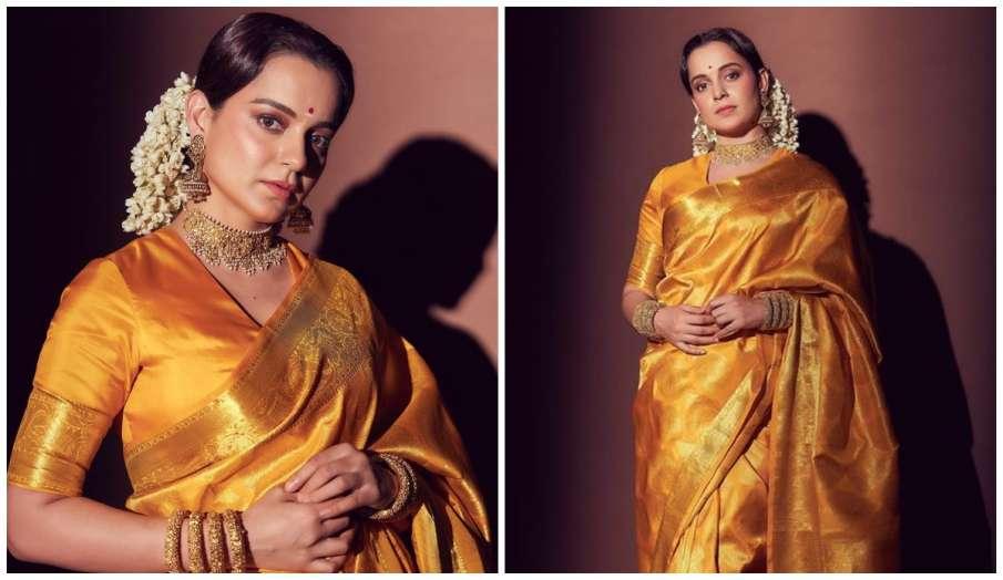कंगना रनौत साड़ी में दिखीं खूबसूरत, एक्ट्रेस का देसी अवतार देख फैंस कर रहे जमकर तारीफ- India TV Hindi