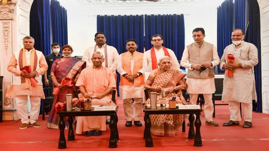Uttar Pradesh Governor Anandiben Patel and Chief Minister Yogi Adityanath with newly sworn-in state - India TV Hindi